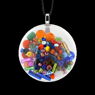 Pendentif en verre soufflé - Galet Mini Mix Perles Multicolore