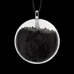Pendentif en verre soufflé - Galet Mini Billes Noir