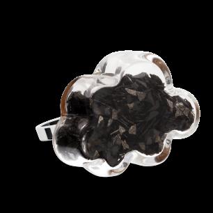 Glass ring - Nuage Medium Paillettes Black