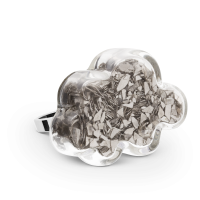 Glass ring - Nuage Medium Paillettes Silver