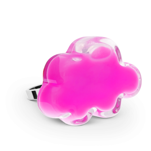 Anello in vetro - Nuage Medium Milk Rosa