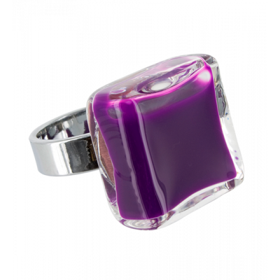 Carre Medium Milk - Glass ring Purple