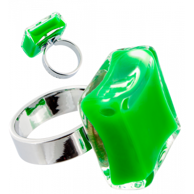 Anello in vetro - Carré Medium Milk Verde scuro