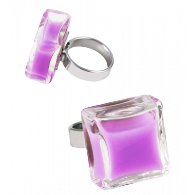 Bague en verre - Carré Medium Milk Lilas