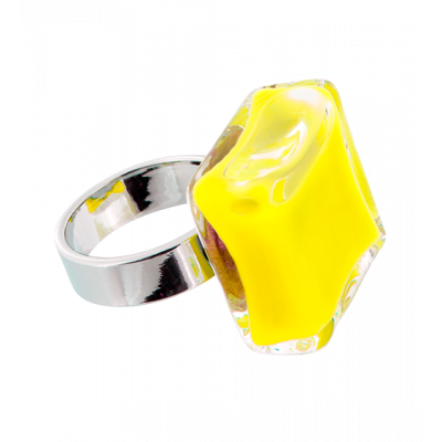 Anello in vetro - Carré Medium Milk Giallo