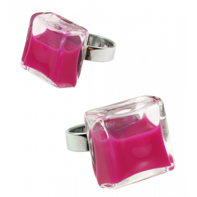 Bague en verre - Carré Medium Milk Fushia