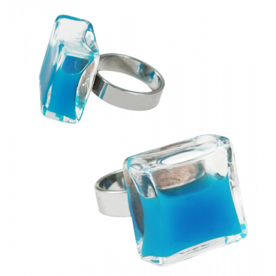 Anello in vetro - Carré Medium Milk Blu reale