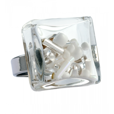 Carre Medium Mix Perles - Glass ring White