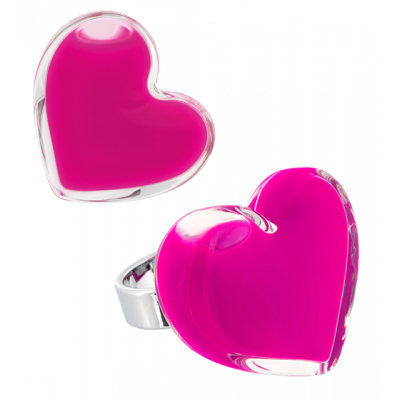 Coeur Medium Milk - Anello in vetro Fucsia