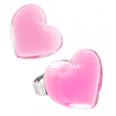 Coeur Medium Milk - Anello in vetro Bubble Gum