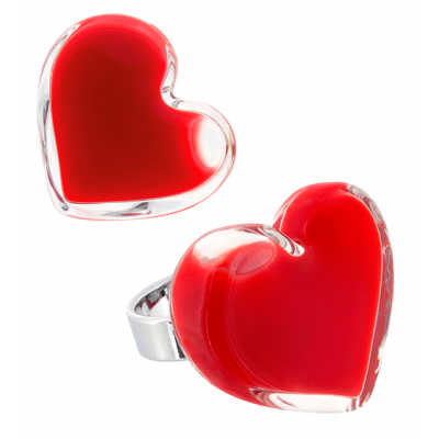 Coeur Medium Milk - Bague en verre Rouge