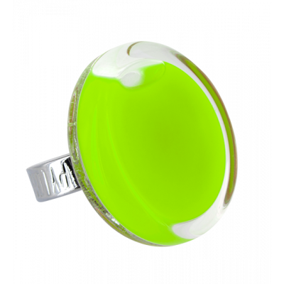 Glass ring - Cachou Medium Milk Light Green