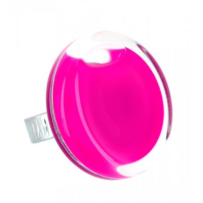 Bague en verre - Cachou Medium Milk Fushia