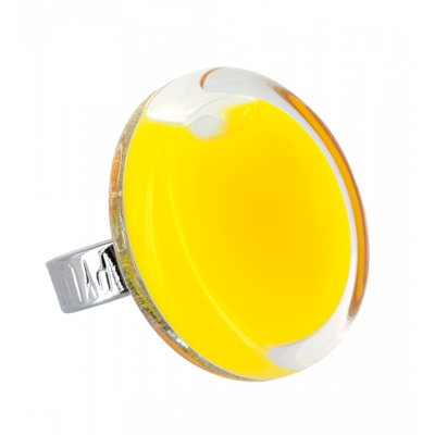 Bague en verre - Cachou Medium Milk Jaune