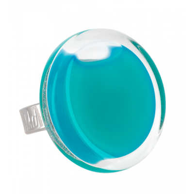 Glass ring - Cachou Medium Milk Turquoise