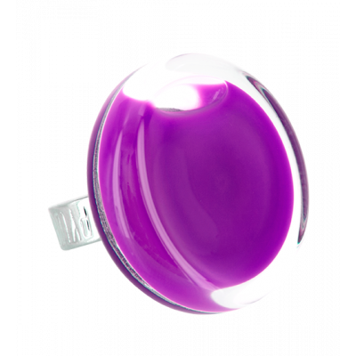 Bague en verre - Cachou Medium Milk Violet