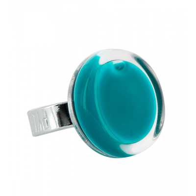 Glass ring - Cachou Mini Milk Turquoise