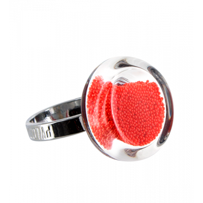Glass ring - Cachou Nano Billes Red