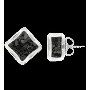 Boucles d'oreilles clou - Carré Paillettes Noir