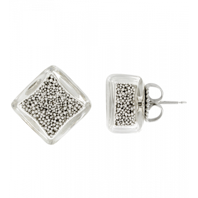 Carre Billes - Stud earrings Silver