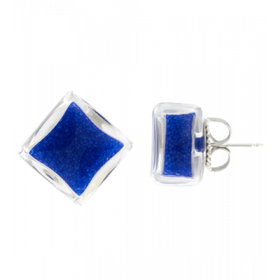 Stud earrings - Carré Billes Dark Blue