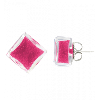 Stud earrings - Carré Billes Fuchsia