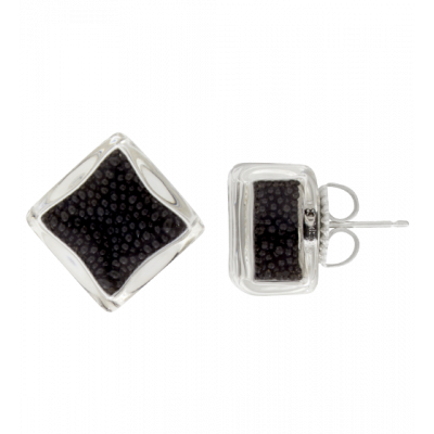 Stud earrings - Carré Billes Black