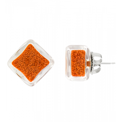 Carre Billes - Stud earrings Orange
