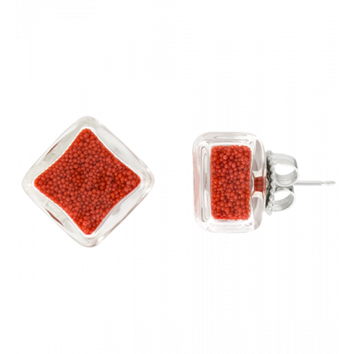 Stud earrings - Carré Billes Red