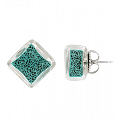 Stud earrings - Carré Billes Turquoise