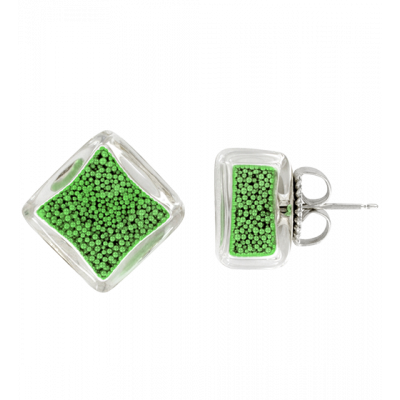 Carre Billes - Stud earrings Green