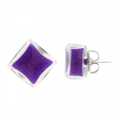 Stud earrings - Carré Billes Purple