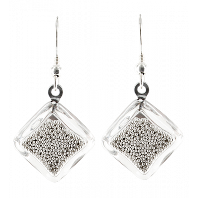 Carre Billes - Hook earrings Silver