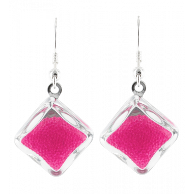 Carre Billes - Hook earrings Fuchsia