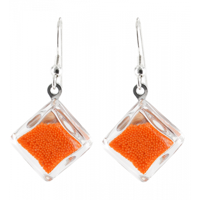 Carre Billes - Hook earrings Orange