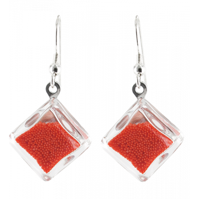 Carre Billes - Hook earrings Red
