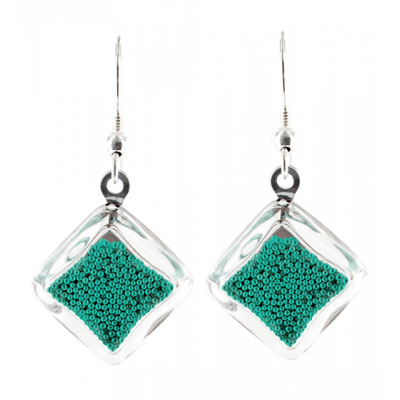 Carre Billes - Hook earrings Turquoise