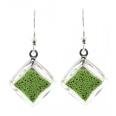 Carre Billes - Hook earrings Green