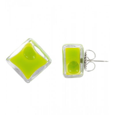 Stud earrings - Carré Milk Light Green