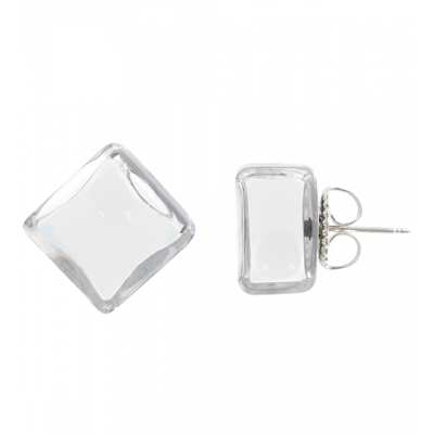 Stud earrings - Carré Milk White