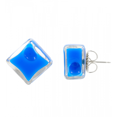 Stud earrings - Carré Milk Royal blue