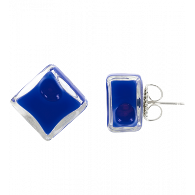 Carré Milk - Stud earrings Dark Blue