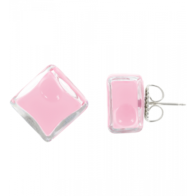 Boucles d'oreilles clou - Carré Milk Bubble Gum