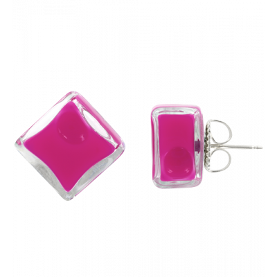 Stud earrings - Carré Milk Fuchsia