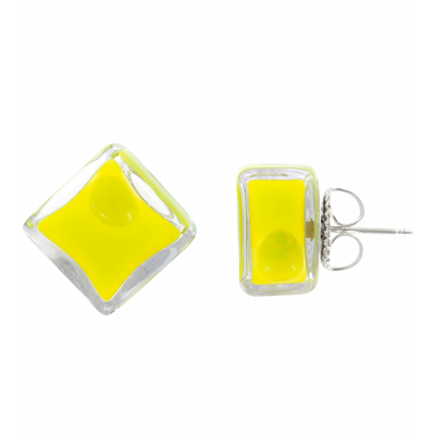 Stud earrings - Carré Milk Yellow