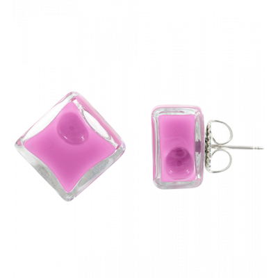 Stud earrings - Carré Milk Lilas