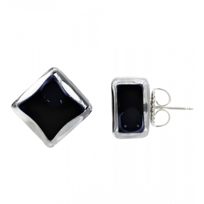 Stud earrings - Carré Milk Black