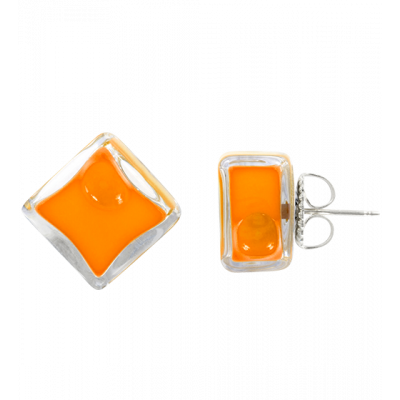 Stud earrings - Carré Milk Orange