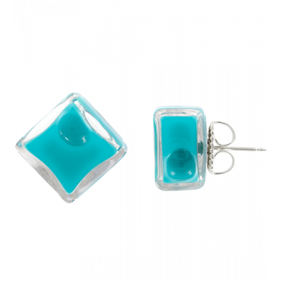 Stud earrings - Carré Milk Turquoise
