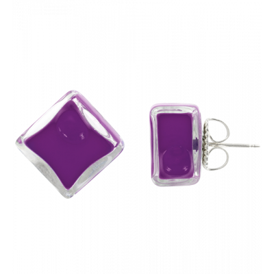 Stud earrings - Carré Milk Dark purple
